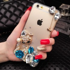 Diamond Case For Huawei Y540 Capa Rhinestone Transparent Luxury Bling Cover With Fox Bowknot - intl