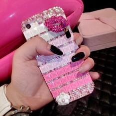 Berlian Case untuk Xiaomi Redmi 4A Bibir Bling Kristal Berlian Buatan Sarung Coque Fundas-Internasional