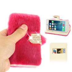 Bertatahkan Berlian Musim Dingin Hangat Bulu Kulit Case dengan Slot Kartu Kredit & Penahan untuk iPhone 5 & 5 S & se & Se (Magenta) -Internasional