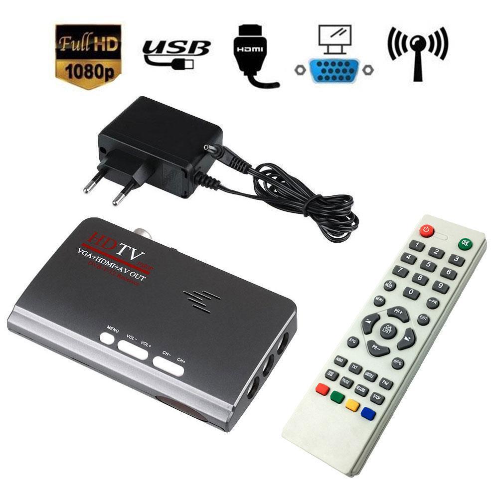 Digital HD VGA DVB-T2 TV Box AV CVBS Tuner Receiver dengan Remote Control-Intl
