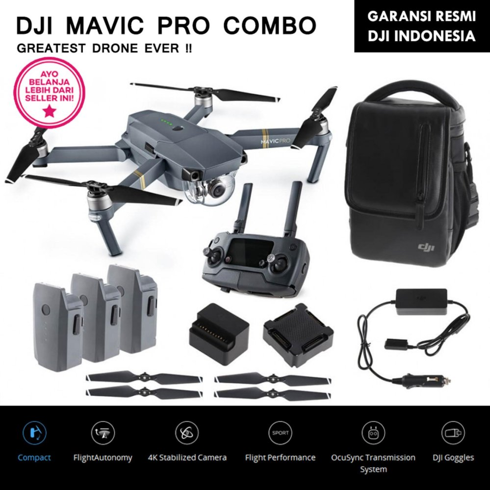 Jual Dji Mavic Pro Combo 4K Ultra Hd Video Satu Set