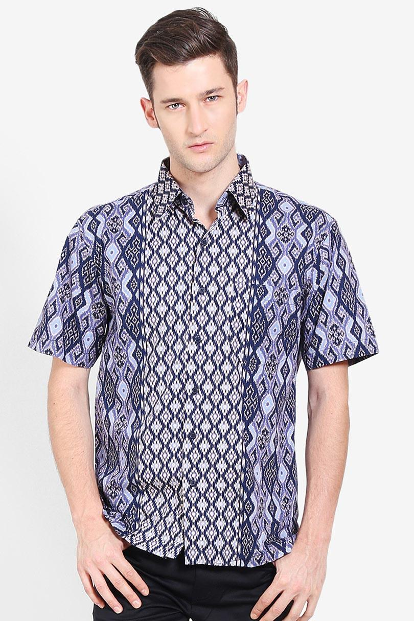 Djoeragan Batik  Men Muslim Wear Shirts Batik Shirts  Pria Wear Shirts Muslim Shirts Batik Blue Biru Batik Diskon discount murah bazaar baju celana fashion brand branded