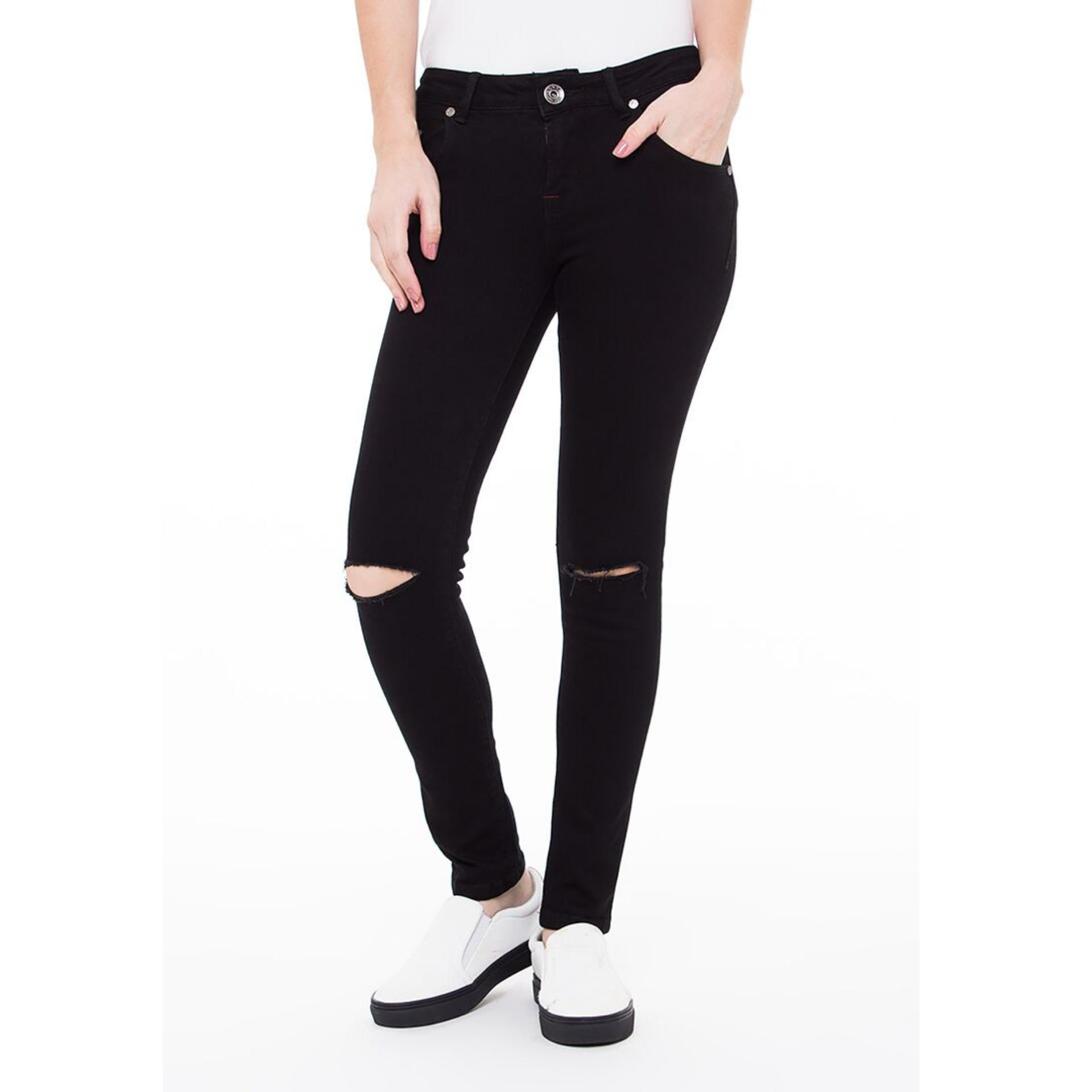 Tips Beli Docdenim Ladies Jeans Calique Cut Ripped Skinny Fit Hitam Yang Bagus