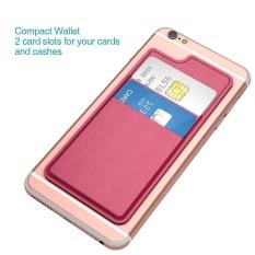 Dodocool Ultra-Ramping Diri Perekat Pemegang Kartu Kredit 2 Slot Tongkat-On Dompet untuk iPhone 7 Plus/ 7/6 S Plus/6 S/6 Plus/6 Ponsel Pintar Mawar Merah-Internasional
