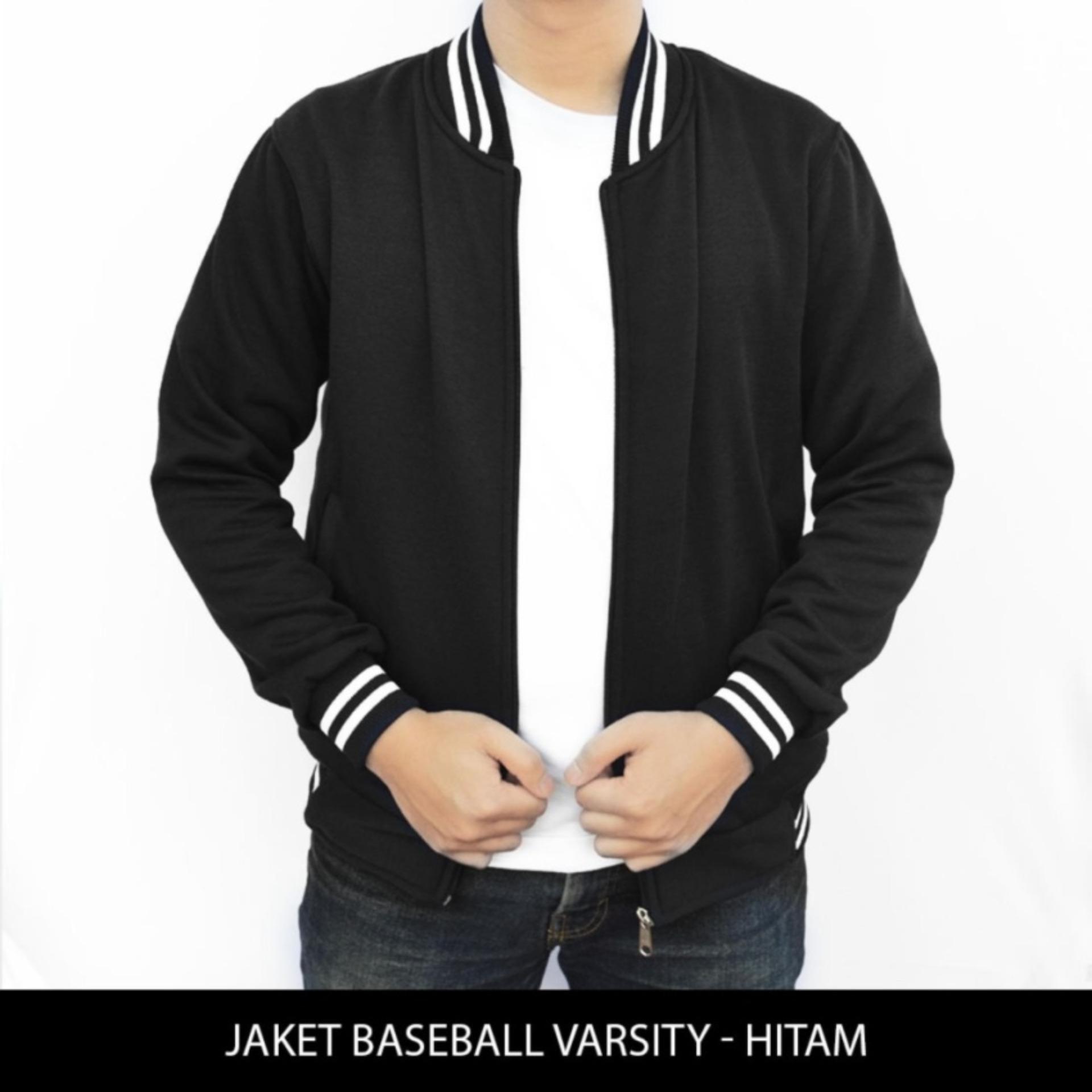 DONI STORE  Jaket Baseball Varsity Polos - Hitam