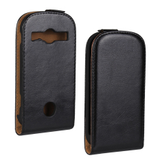Downward Opended PU Leather Case for Samsung XCover 2 Black Color.