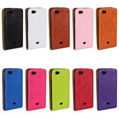 Ke Bawah Opended PU Leather Case untuk Sony Xperia Miro ST23i Warna Coklat.