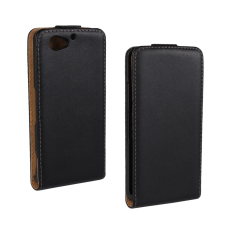 Downward Opened  Plain Weave Style PU Leather Case for Sony Xperia Z2 Compact Black Color.