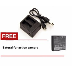 Dual Battery Charger for action camera Kogan Brica ETC + baterai 1pcs