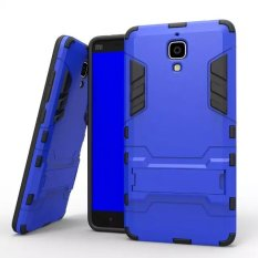 Dual Layer Protective Hybrid Advanced Shock Absorption Protection dengan Fitur Kick-Stand Case untuk Xiaomi 4 Xiao Mi 4 MI4 M4 (Biru) (Intl)