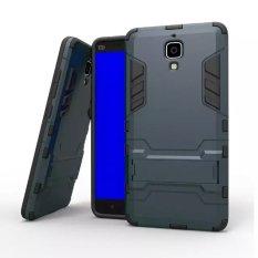 Layar Ganda Protektif Hybrid Canggih Redam Kejut Perlindungan dengan Fitur Kick-Berdiri Case untuk Xiaomi 4 Xiao Mi 4 MI4 M4 (biru Tua) (Intl)