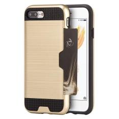 Ganda Lapisan Guncangan Menyerap Perlindungan Buah Hibrida/TPU Karet Identitas/Slot Kartu Kredit Case Sarung untuk iPhone 8 plus 5.5 Inches-Internasional