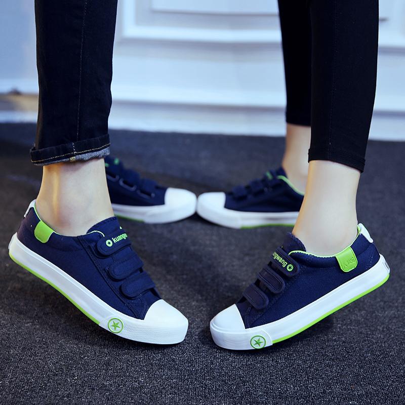 Toko Orang Malas Korea Fashion Style Kain Datar Sepatu Lengket Sepatu Kets Putih Velcro Kanvas Sepatu Model Wanita Biru Tua Terlengkap Tiongkok