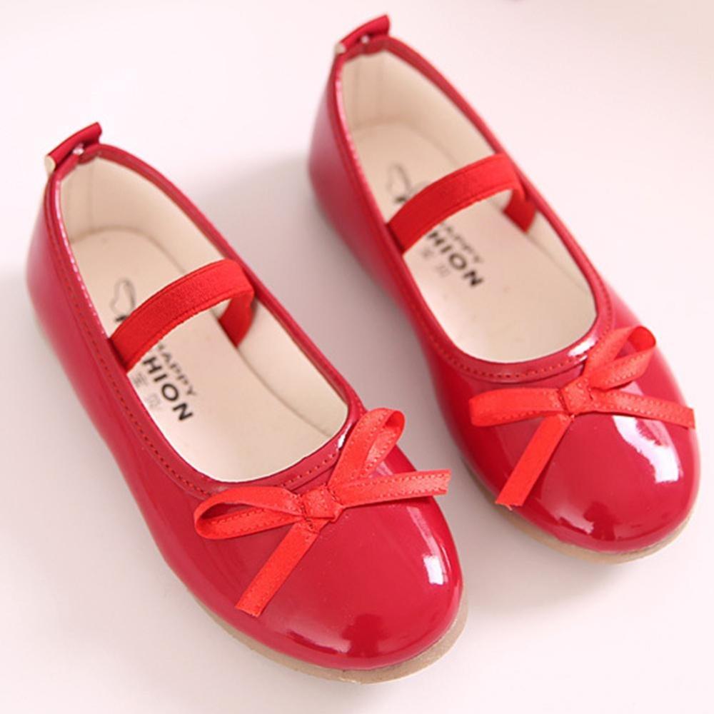 Eachgo Bayi Anak Perempuan Tahan Lama Kenyamanan Ikatan Simpul Putri Sepatu Gaun Formal untuk Perjamuan Pesta Pernikahan (Merah)-Intl
