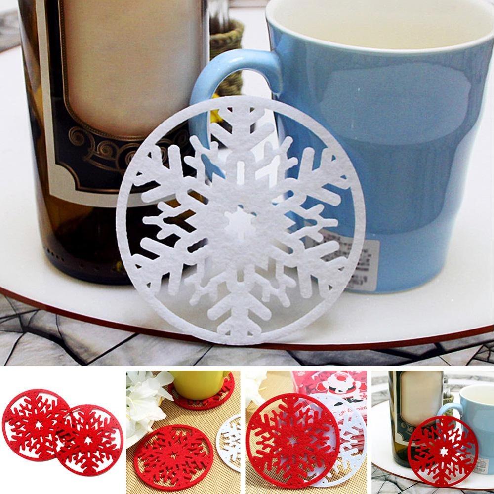 Eachgo Natal Supplies10pcs/lot Piala Kepingan Salju Coaster Mug Mat Dinner Party Plates Pad untuk