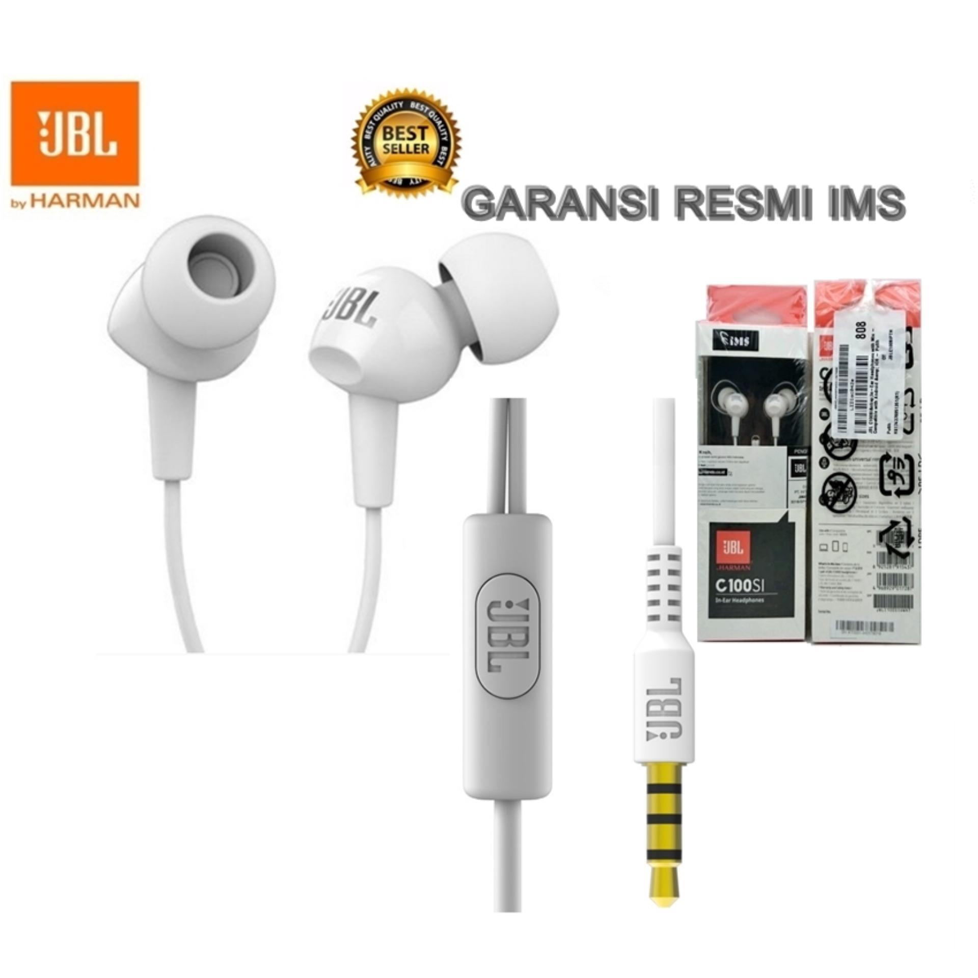 Earphone Headset Handsfree JBL C100SI Original Garansi Resmi IMS-Putih