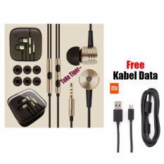 Earphone Xiaomi Big Bass Piston Mi 2nd Original - Gold - Free Kabel Data Micro Usb