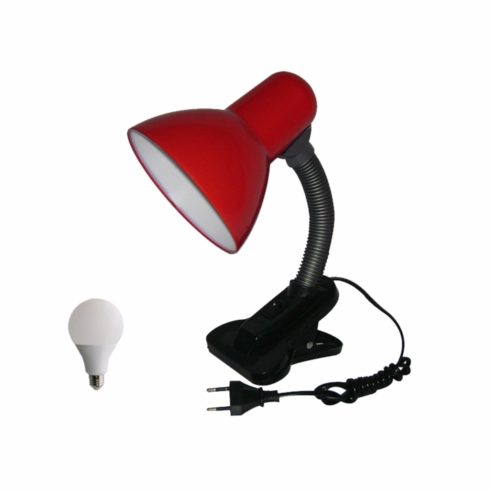 EELIC JM-108S 5W MERAH Lampu Meja - Baca - Belajar Jepit Switch + 5W LED