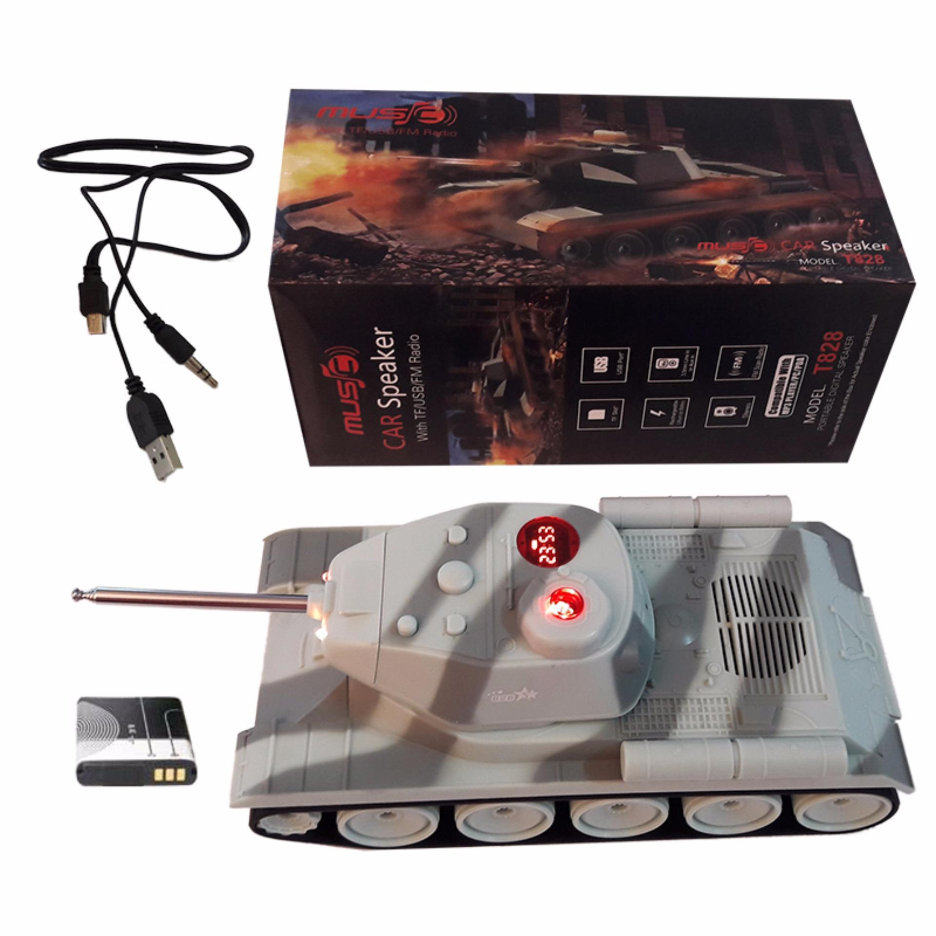 Harga Eelic Spr T828 Abu Abu Army Model Tank Mini Digital Speaker Baterai Charge Nyaring Paling Murah