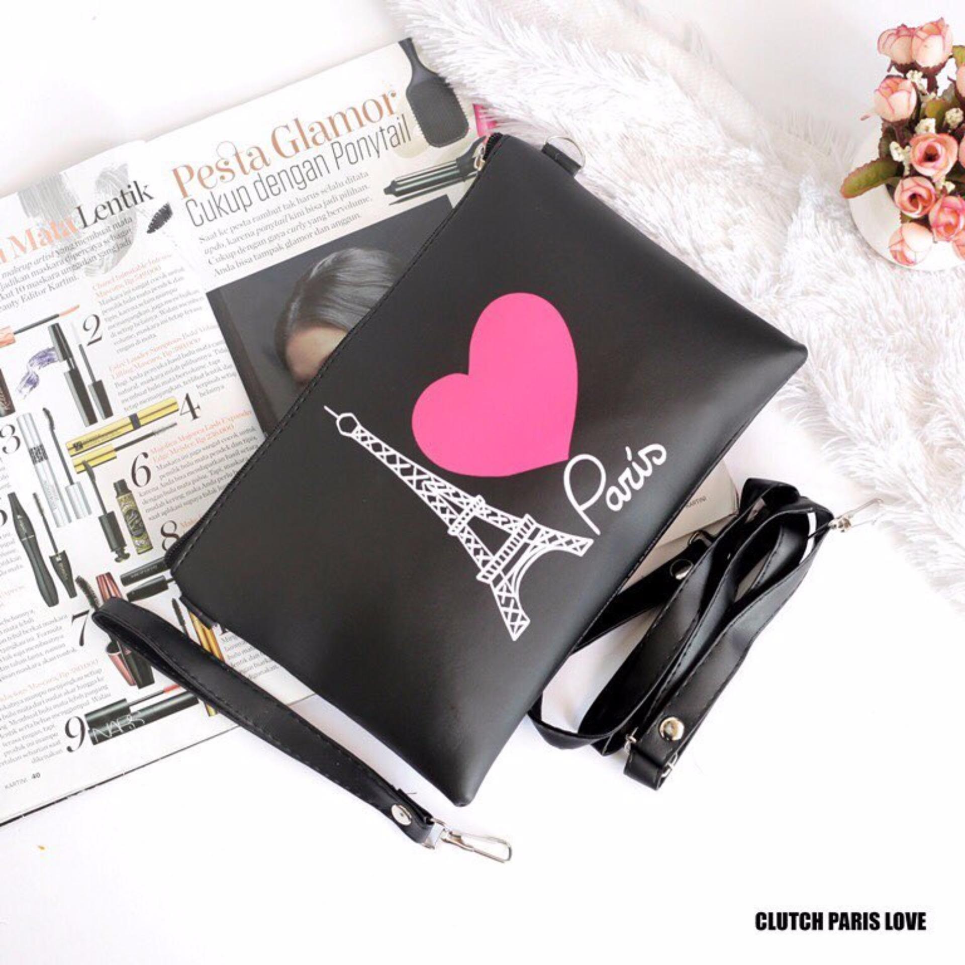 ... Slempang / Tas Bahu Modis Wanita Kekinian - BlackIDR40500. Rp 40.500. EL PIAZA LOVE PARIS Women Clutch ...