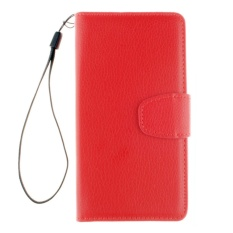 Elaike Case For HTC Desire 630 Lichee Grain PU Leather Wallet Card Slot Flip Stand Case Cover (Red) - intl