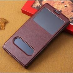 Elaike untuk Huawei Honor 3C View Window Flip Leather Cover Phone Case (Brown)-Intl