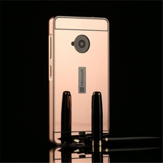 Elaike For Nokia Lumia 535 2 in 1 Luxury Aluminum Metal Mirror PC Phone Cover Case (Rose Gold)
