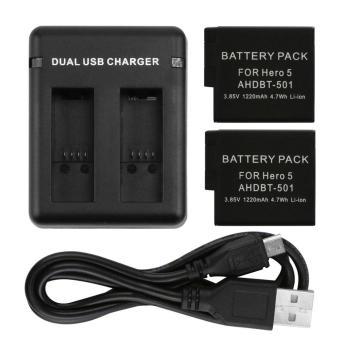 Pencari Harga Elec USB Pengisi Ulang Baterai dengan Dual Pengisian Slot dan Kabel USB untuk GoPro Pahlawan 5/6 Hitam terbaik murah - Hanya Rp59.204