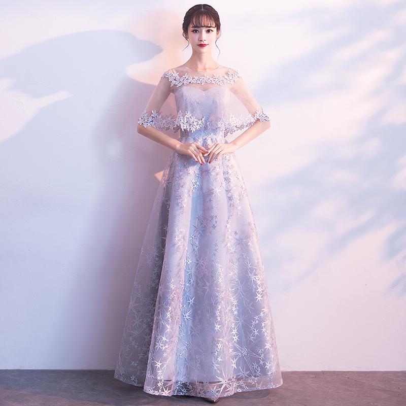 Toko Elegan Mahal Baru Musim Dingin Busana Pendamping Pengantin Gaun Malam Warna Abu Perak Model Panjang Termurah