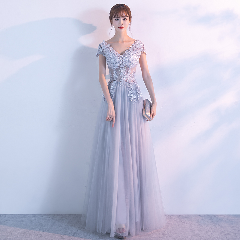 Diskon Besarelegan Seksi Perempuan Baru Perjamuan Rok Gaun Gaun Malam Asap Abu Abu Baju Wanita Dress Wanita Gaun Wanita