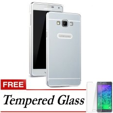 Elegant Case Aluminium Bumper Slide Case For Samsung Galaxy J7 - Silver + Gratis Tempered Glass