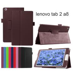 Desain Elegan Lengkeng Moonmini PU Kulit Penutup Pintar For Lenovo TAB 2 A8 Tablet Sampul Buku-Coklat
