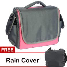 Toko Jual Eleven Tas Kamera 2 Lensa Pink Abu Abu Gratis Rain Cover