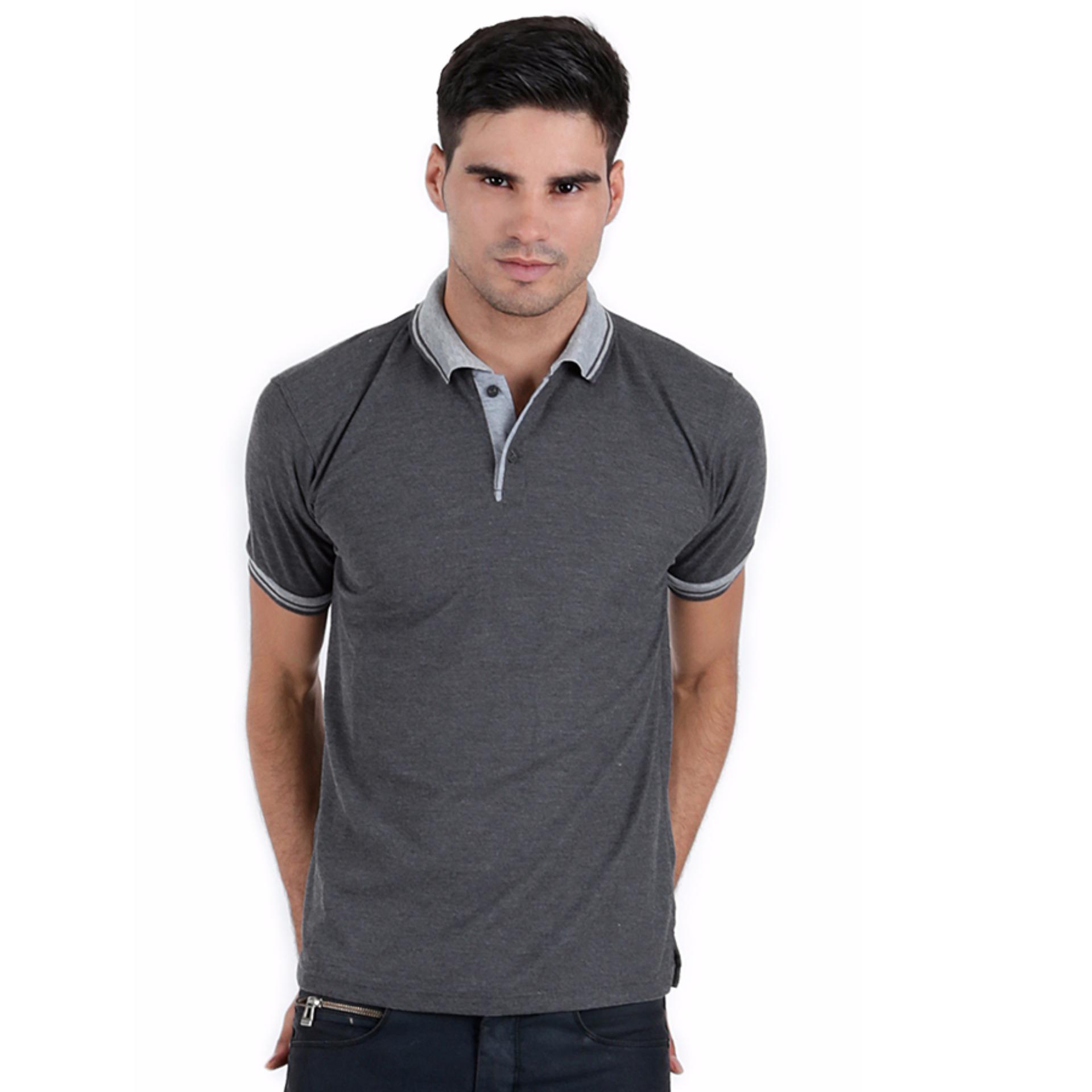 Elfs Shop - Kaos Polo Shirt Pria Baju Lakos Kerah Abu Muda 1c31bf662a