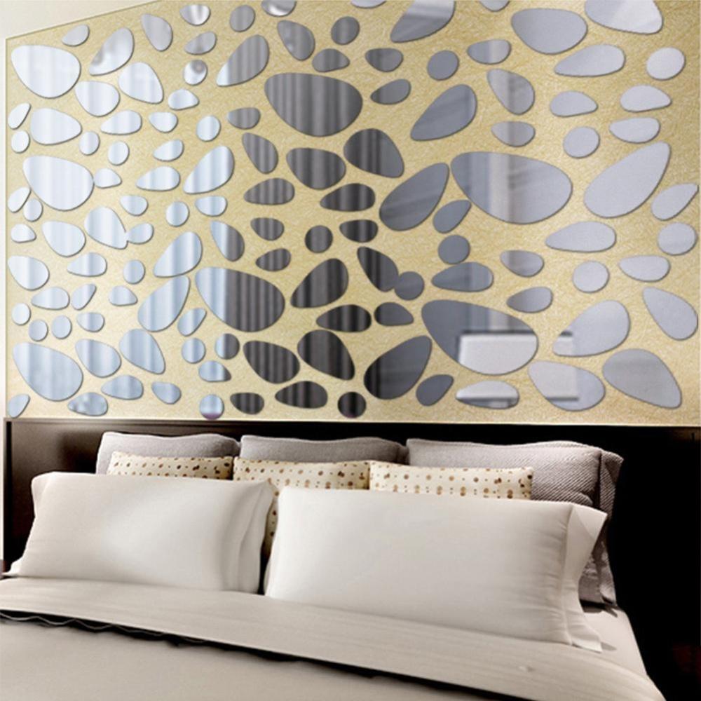 Elife 3D Cobblestone Mirror Tile Wall Stiker Rumah Dekorasi Kamar Stick Modern Dinding Seni-Internasional