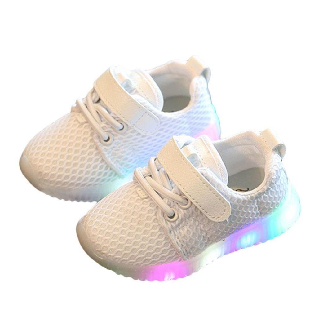 Elife LED Anak Laki-laki Perempuan Sepatu Kasual Lampu Up Luminous Anak PELATIH Olahraga Kets (Putih)-Intl