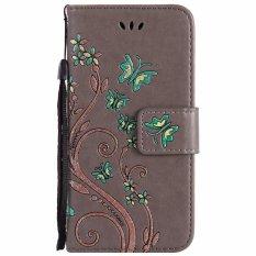 Elike Bunga Kupu-kupu Warna Percetakan Timbul Flip Kasus Kulit Cover untuk IPhone 6 Plus (Abu-abu)-Intl