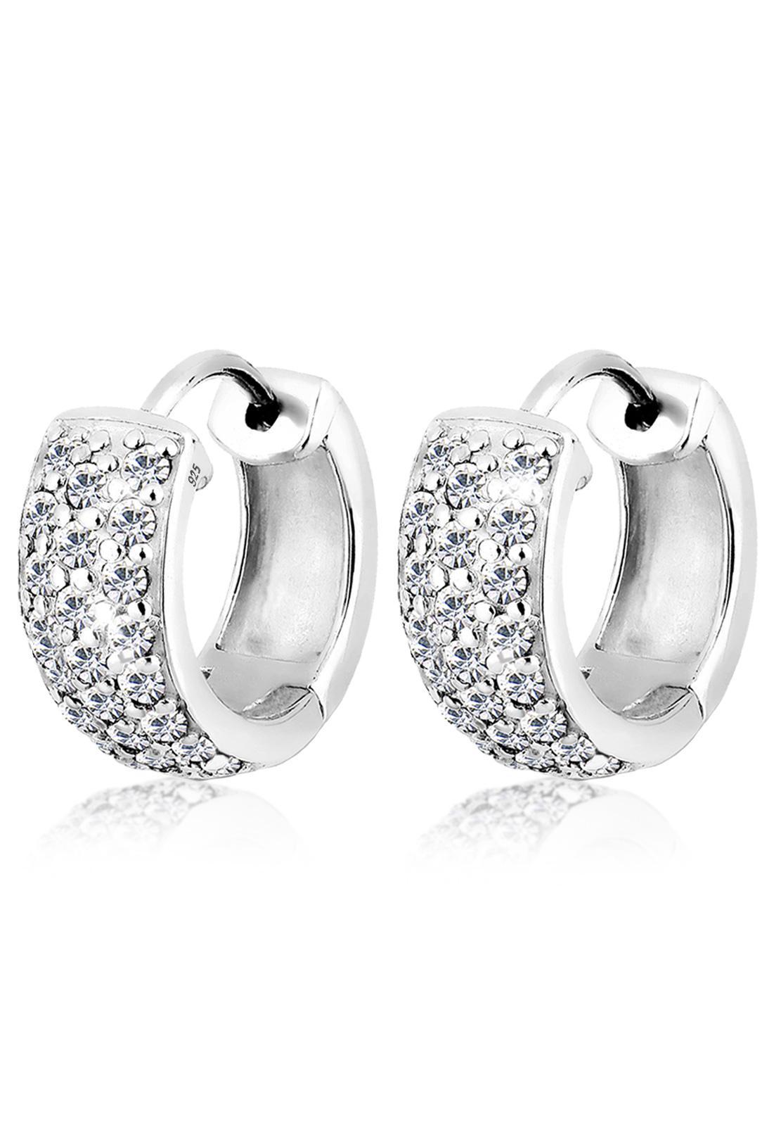 Elli Germany 925 Sterling Silver Anting Creol Glamor Swarovski® Crystals Silver