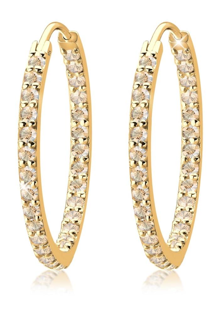 Elli Germany 925 Sterling Silver Anting Hoops Glamour Swarovski® Lapis Emas Emas