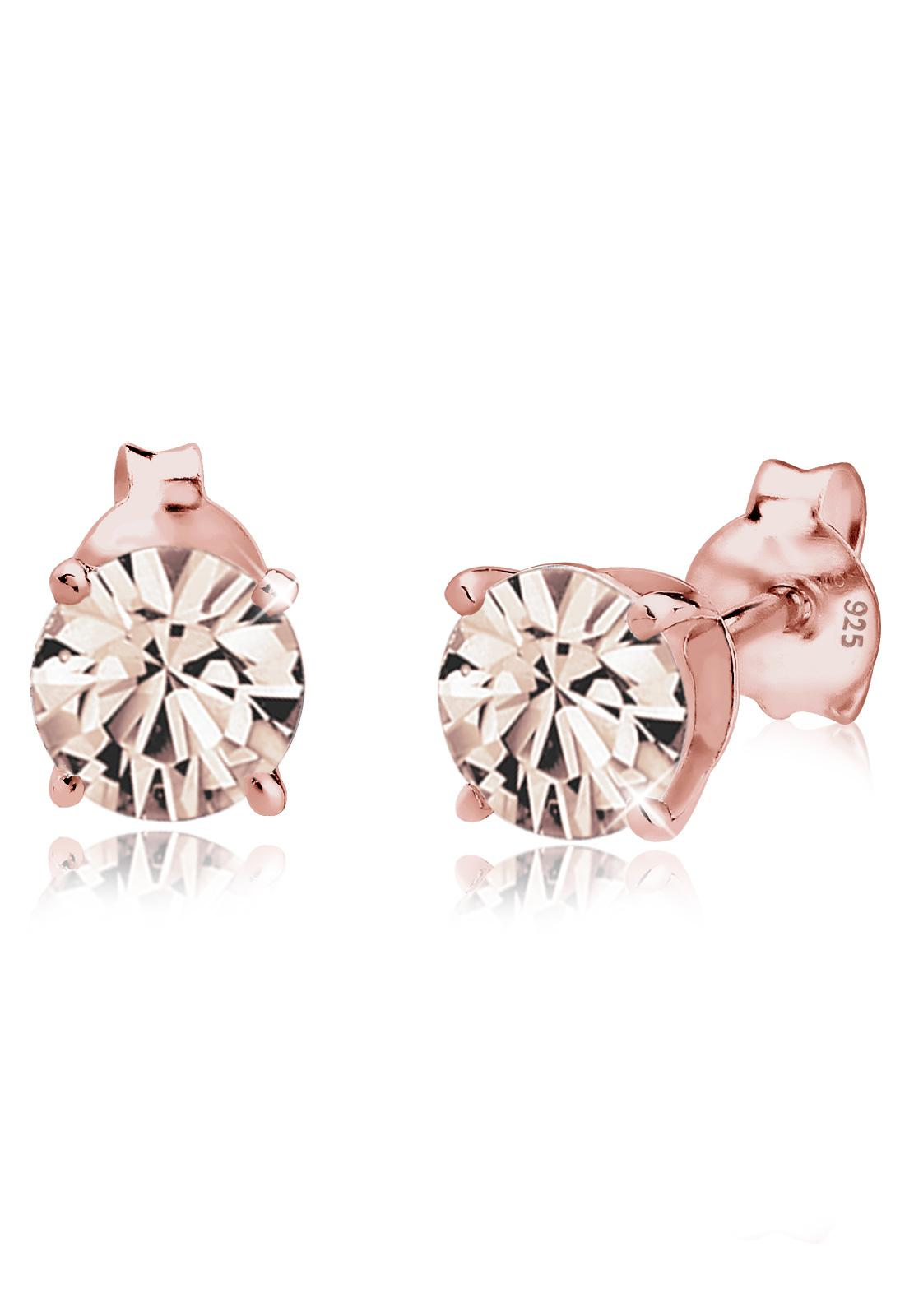 Elli Germany 925 Sterling Silver Anting Stud Basic Swarovski® Rose