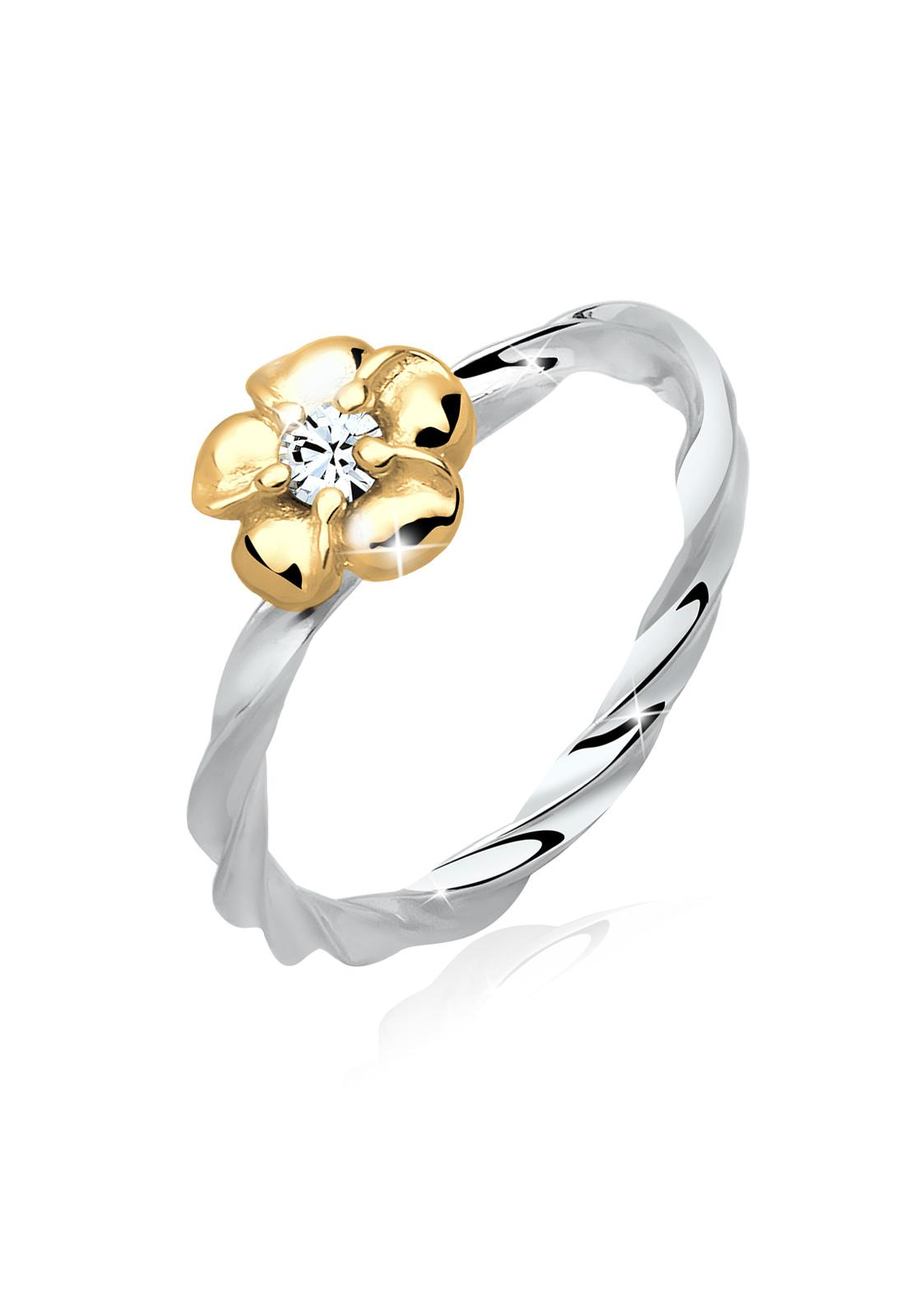 Spek Elli Germany 925 Sterling Silver Cincin Lapis Emas 24K Flower Swarovski Crystals Putih