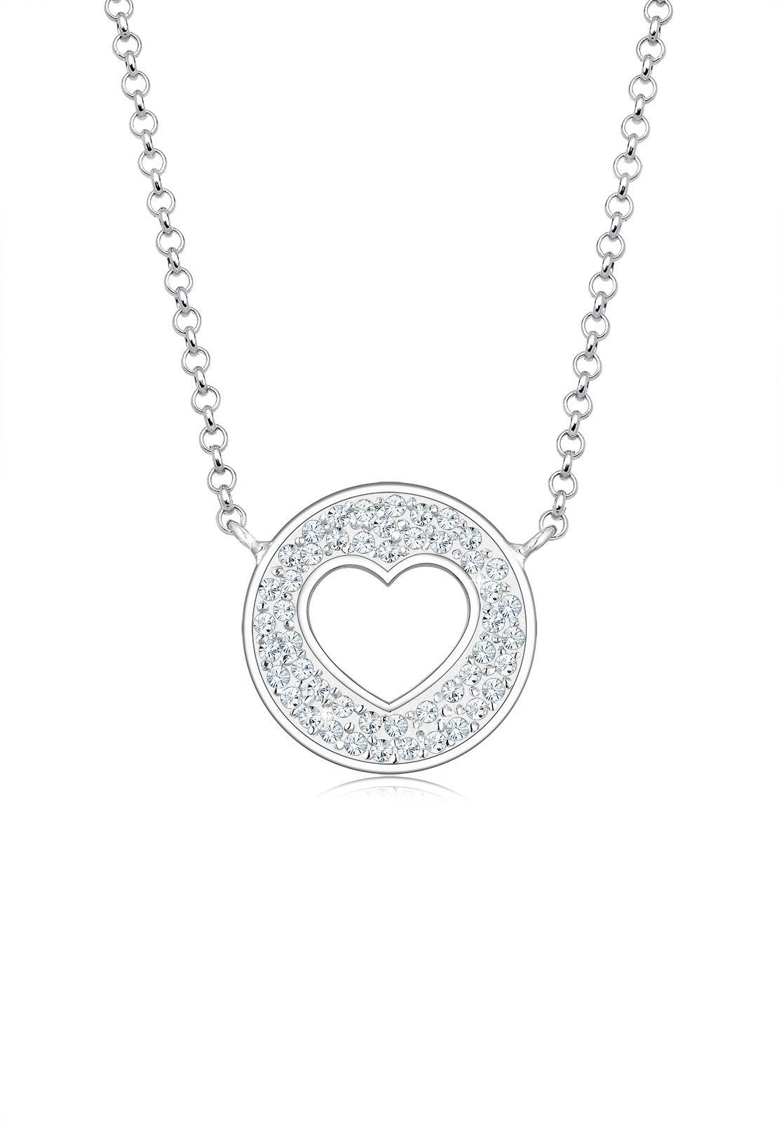 Beli Elli Germany 925 Sterling Silver Kalung Heart Coin Swarovski® Silver Online Terpercaya