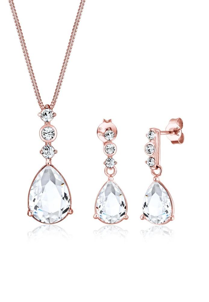 Elli Germany 925 Sterling Silver Perhiasan Set Classic Swarovski® Rosegold