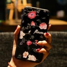Timbul Bunga Cantik Matte TPU Bingkai Ponsel Shell UNTUK iPhone 7 Plus 5.5-Rose-
