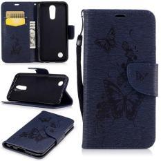 Embossed PU Leather Magnetic Flip Cover untuk untuk LG K10 2017/LG K20 Plus/LG LV5 2017 (butterfly-DARK BIRU) -Intl