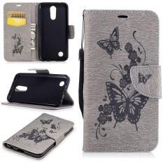 Embossed PU Leather Magnetic Flip Cover untuk untuk LG K10 2017/LG K20 Plus/LG LV5 2017 (butterfly-Grey) -Intl