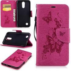 Embossed PU Leather Magnetic Flip Cover untuk untuk LG K10 2017/LG K20 Plus/LG LV5 2017 (butterfly-Rose) -Intl