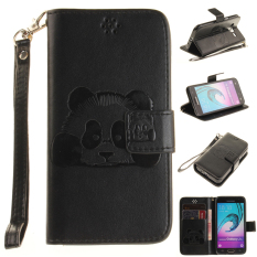 Embossing Panda Pattern PU Leather Flip Stand Dompet Phone Case + PC Cover untuk Samsung Galaxy J310 (Hitam) -Intl