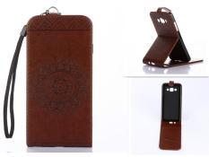 Embossing PU Leather Wallet Stand Flip Atas dan Ke Bawah Flip Case Cover Garis untuk Samsung Grand Prime G5308W G530 Case -Intl