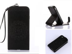 Embossing PU Leather Wallet Stand Flip Atas dan Ke Bawah Flip Case Cover Garis untuk Samsung Galaxy S3 Mini I8190 Case -Intl